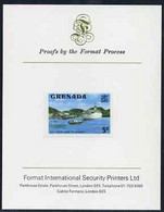 Grenada 1975 Deep Water Dock 5c Imperf Proof Format International Proof Card (as SG 653) - Grenada (1974-...)