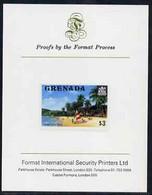 Grenada 1975 Grand Anse Beach $3 Imperf Proof Format International Proof Card (as SG 666) - Grenada (1974-...)