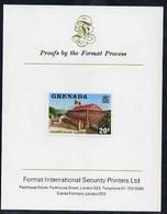 Grenada 1975 Parliament Building 20c Imperf Proof Format International Proof Card (as SG 659) - Grenada (1974-...)