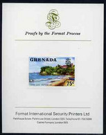 Grenada 1975 Sauteurs Bay 75c Imperf Proof Format International Proof Card (as SG 663) - Grenada (1974-...)