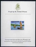 Grenada 1975 Working Boats 3c Imperf Proof Format International Proof Card (as SG 652) - Grenada (1974-...)