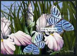 Grenada - Grenadines 2002 Flora & Fauna Perf M/sheet (Blue Night Butterfly), Signed By Thomas C Wood The Designer, U/m - Grenada (1974-...)