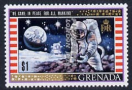 Grenada 1970 Philympia 1970 Opt On $1 First Man On The Moon With Opt Inverted (reading Downwards) U/m (ex Archives) SG 4 - Grenada (1974-...)