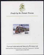 Grenada 1982 Famous Trains 60c Trans-Siberian Express Imperf Proof Format International Proof Card As SG 1213 - Grenada (1974-...)