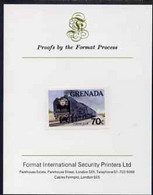 Grenada 1982 Famous Trains 70c Fleche D'Or Imperf Proof Format International Proof Card As SG 1214 - Grenada (1974-...)