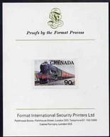 Grenada 1982 Famous Trains 90c Flying Scotsman Imperf Proof Format International Proof Card As SG 1215 - Grenada (1974-...)
