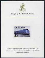Grenada 1982 Famous Trains $3 German National Railways Clas 05 Loco Imperf Proof Format International Proof Card As SG 1 - Grenada (1974-...)