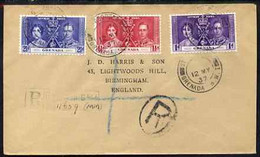 Grenada 1937 KG6 Coronation Set Of 3 On Reg Cover With First Day Cancel Addressed To The Forger, J D Harris. - Grenada (1974-...)