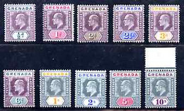 Grenada 1902-06 KE7 Set Of 10 (1/2d To 10s) With Mixed Watermarks (0.5d, 2d & 2.5d Are CA, Remainder MCA) Fine Mounted M - Grenada (1974-...)