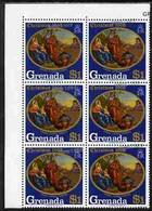 Grenada 1969 Christmas 1969 $1 Value Corner Block Of 6 With Silver (new Date) Misplaced Obliquely U/m - Grenada (1974-...)