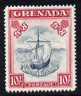 Grenada 1938-50 KG6 Definitive Badge Of Colony 10s P14 (narrow) Mounted Mint SG 163e - Grenada (1974-...)