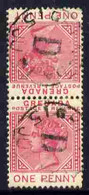 Grenada 1887 QV 1d Tête-bêche Pair One Stamp With Broken P Variety (position R2/6) Cds Used, SG 40avar - Grenada (1974-...)