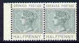 Grenada 1887 QV 1/2d Dull Green  Horiz Marginal Pair One Stamp With 'Sliced H' Variety (Position R9/1 ?) U/m SG 30var - Grenada (1974-...)