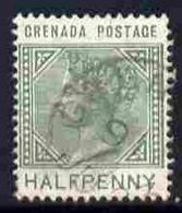 Grenada 1887 QV 1/2d Dull Green With 'Sliced H' Variety (Position R9/1 ?) Fine Cds Used SG 30var - Grenada (1974-...)