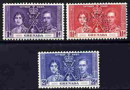 Grenada 1937 KG6 Coronatio Set Of 3 Perforated SPECIMEN Fine With Gum And Only 415 Produced - Grenada (1974-...)