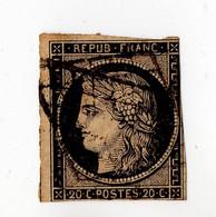 CERES N°3 - 20c Noir Intense (h) - Oblitéré - Cachet Grille - Côte 110€ - 1849-1850 Ceres