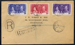 Grenada 1937 KG6 Coronation Set Of 3 On Plain Cover With First Day Cancel Addressed To The Forger, J D Harris. - Grenada (1974-...)