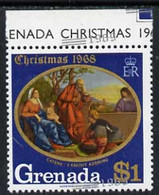 Grenada 1969 Christmas 1969 $1 Value U/m With Silver (new Date) Misplaced Obliquely Appearing At The Bottom Of Stamp Ins - Grenada (1974-...)