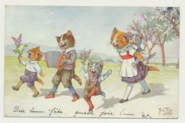 Carte Fantaisie Signée THIELE - Famille De Chats En Promenade... -T.S.N. SERIE 1438. - Thiele, Arthur