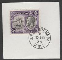 Grenada 1934-36 KG5 Pictorial 5s Black & Violet (SG 144) With Madame Joseph Forged Postmark Type 201 - Grenada (1974-...)