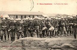 Maroc, Fanfare Du 14e Bataillon De Chasseurs Alpins Dans La Neige En 1913-1914 - Andere Kriege