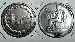 ITALY 1 LIRA 1922 Km# 62 (G#07-55) - 1 Lira