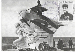 CPM NORD MALO -LES-BAINS Le Monument GUYNEMER Erinnophilie Vignette Capt G Guynemer 1989 - Aviazione