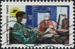 France 2020 Oblitéré Used Contre Le Covid Tous Engagés Chargé De Clientèle En Bureau De Poste - Used Stamps