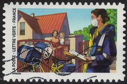 France 2020 Oblitéré Used Contre Le Covid Tous Engagés Factrice - Used Stamps