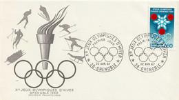 FRANCE - Enveloppe FDC - Xe Jeux Olympiques D'hiver, Année Préolympique - Tb N° 1520 - 1967 - 1960-1969