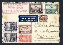 Belgique 1938 - Courrier Spécial Wavre / Stanleyville  Et Retour - Exposition Coloniale. Vue Vers Basse Wavre. 2 Scans. - Airmail