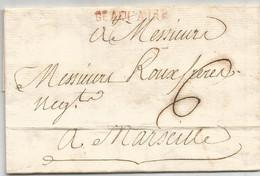 GARD MARQUE ROUGE BEAUCAIRE 1763 LETTRE POUR MARSEILLE INDICE 12 - 1701-1800: Precursors XVIII
