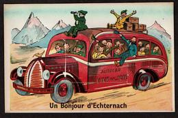 Carte à Système - Dépliant Multi-vues - Un Bonjour D'Echternach - Autocar Vive La Joie - Autobus - 3 Scans - Echternach
