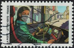 France 2020 Oblitéré Used Contre Le Covid Tous Engagés Conductrice D'autobus - Used Stamps