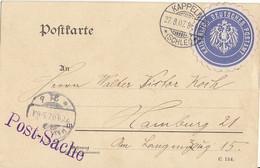 DR Postsache Karte Mit Verschlussvignette Kaisl. Dt. Postamt Kappeln (Schlei) 27.8.07 Gel. Nach Hamburg  Selten !!!!!!!! - Covers & Documents