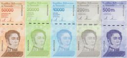 VENEZUELA Set 10000 20000 50000 200000 500000 Bolivares 2019 - 2020 P 109 - 113 UNC (5 Banknotes) - Venezuela