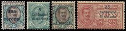 ITALY ITALIA DALMAZIA 1919-22 4 FRANCOBOLLI (Sass. 1, 2, 6, Esp. ) LINGUELLATI OFFERTA! - Dalmatia