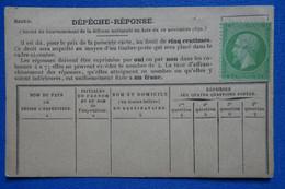U17  FRANCE  BELLE CARTE  RARE BALLON MONTE DEPECHE REPONSE  1870  NON VOYAGEE - Covers & Documents