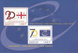 2019 Georgia EU Council Of Europe Flags Souvenir Sheet MNH - Georgia