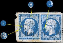 France - 2xYv.14A 20c Bleu T.1 - Positions 102G3 & 101G3 - Obl. PC 1031 (Crest) TB Sur Fragment (ref.&01f) - 1853-1860 Napoleon III