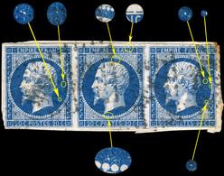 France - Bande De 3xYv.14A 20c Bleu T.1 - Positions 66-67-68G1 - Obl. TB Sur Fragment (ref.&01g) - 1853-1860 Napoleon III