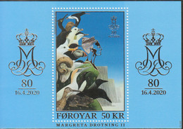 2020 Faroe Royalty Queen Margrethe GOLD FOIL Souvenir Sheet MNH @ BELOW FACE VALUE - Islas Faeroes