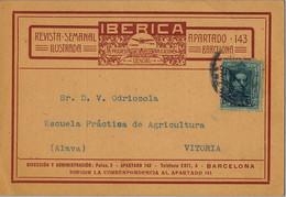 1927 , BARCELONA , TARJETA DE SUSCRIPCIÓN CIRCULADA A VITORIA , REVISTA IBÉRICA - Brieven En Documenten