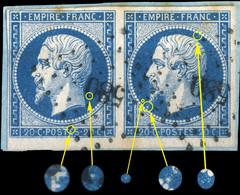 France - PaireYv.14A 20c Bleu T.1 - Positions 143-144D4 (petit BdF) - Obl. PC 580 (Cahors) TB Sur Fragment (ref.&02a) - 1853-1860 Napoleon III
