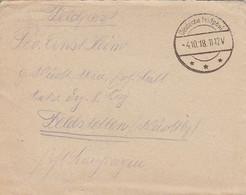 Feldpostbrief Mit Inhalt - Feldpost 985 Nach Feldstetten - 1918 (56725) - Covers & Documents