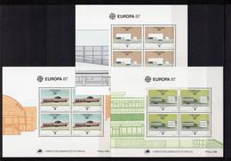 PORTOGALLO+AZZORRE+MADERA Foglietti Europa CEPT 1987 - Unused Stamps