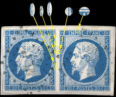 "France - PaireYv.14A 20c Bleu T.1 - Positions 86-87D4 - Obl. Ambulant "" ML1° ""  TB Sur Fragment (ref.&02b) - 1853-1860 Napoleon III"