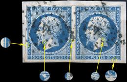 France - Paire Yv.14A 20c Bleu T.1 - Positions 15-16G2 - Obl. PC 3471 (Valence-s/-Rhône)  TB Sur Fragment (ref.&02c) - 1853-1860 Napoleon III