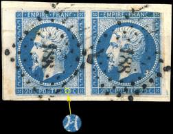 France - Paire Yv.14A 20c Bleu T.1 - Positions 51-52G3 - Obl. PC 188 (Aurillac) - Défauts -sur Fragment (ref.&02d) - 1853-1860 Napoleon III