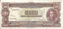 BOLIVIE 5000 BOLIVIANOS L.1945 VF+ P 145 - Bolivie